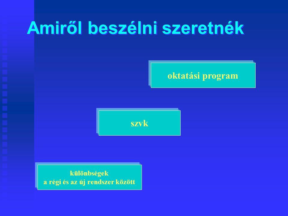 Amiről beszélni szeretnék különbségek a régi és az új rendszer között oktatási program szvk