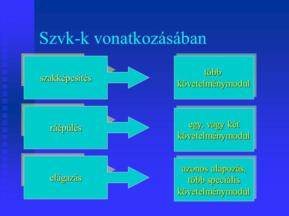 Tananyagmodulok jellemzői Tananyagmodul – tananyagegység Követelménymodulhoz nem minden esetben rendelhető.