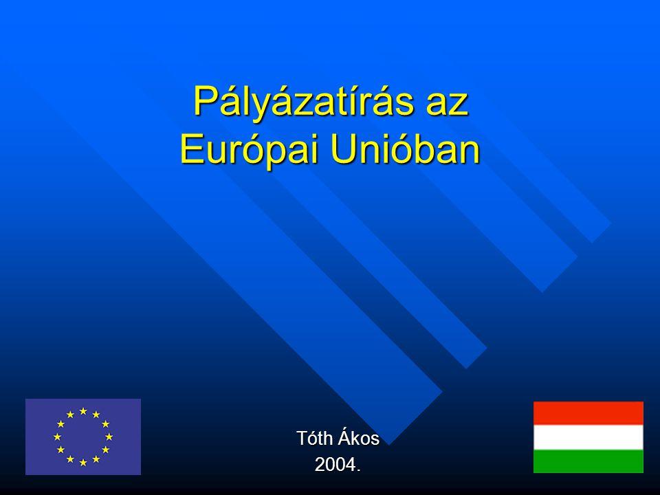 Pályázatírás az Európai Unióban Tóth Ákos 2004.