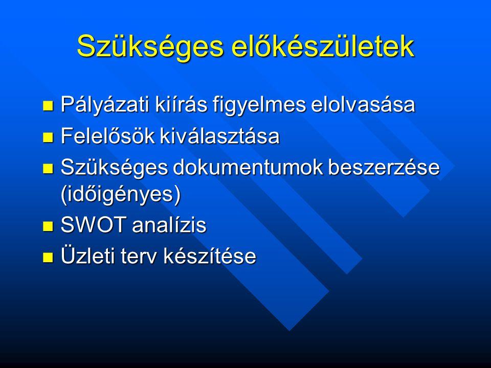 Szükséges előkészületek  Pályázati kiírás figyelmes elolvasása  Felelősök kiválasztása  Szükséges dokumentumok beszerzése (időigényes)  SWOT analízis  Üzleti terv készítése