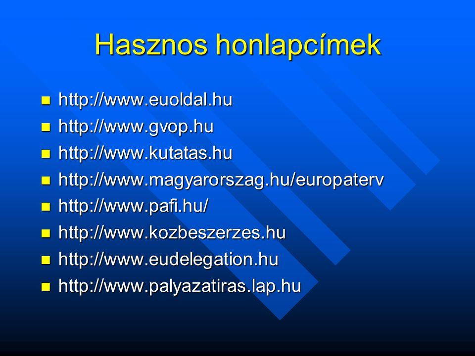 Hasznos honlapcímek  http://www.euoldal.hu  http://www.gvop.hu  http://www.kutatas.hu  http://www.magyarorszag.hu/europaterv  http://www.pafi.hu/