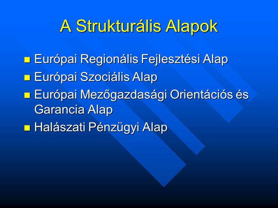 A Strukturális Alapok  Európai Regionális Fejlesztési Alap  Európai Szociális Alap  Európai Mezőgazdasági Orientációs és Garancia Alap  Halászati