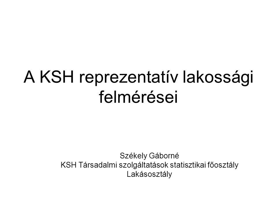 A KSH reprezentatív lakossági felmérései Székely Gáborné KSH Társadalmi szolgáltatások statisztikai főosztály Lakásosztály