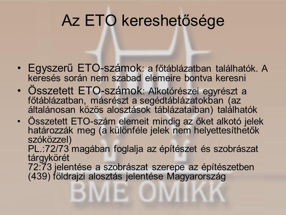 Az ETO kereshetősége •Egyszerű ETO-számok : a főtáblázatban találhatók. A keresés során nem szabad elemeire bontva keresni •Összetett ETO-számok : Alk