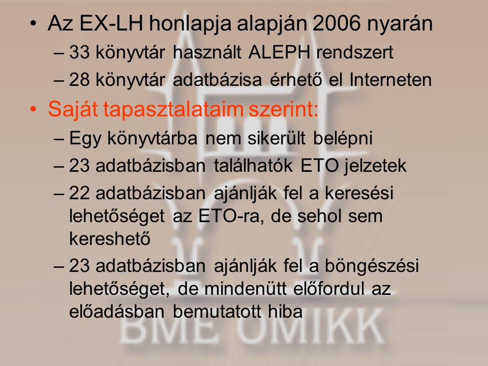 •Az EX-LH honlapja alapján 2006 nyarán –33 könyvtár használt ALEPH rendszert –28 könyvtár adatbázisa érhető el Interneten •Saját tapasztalataim szerin