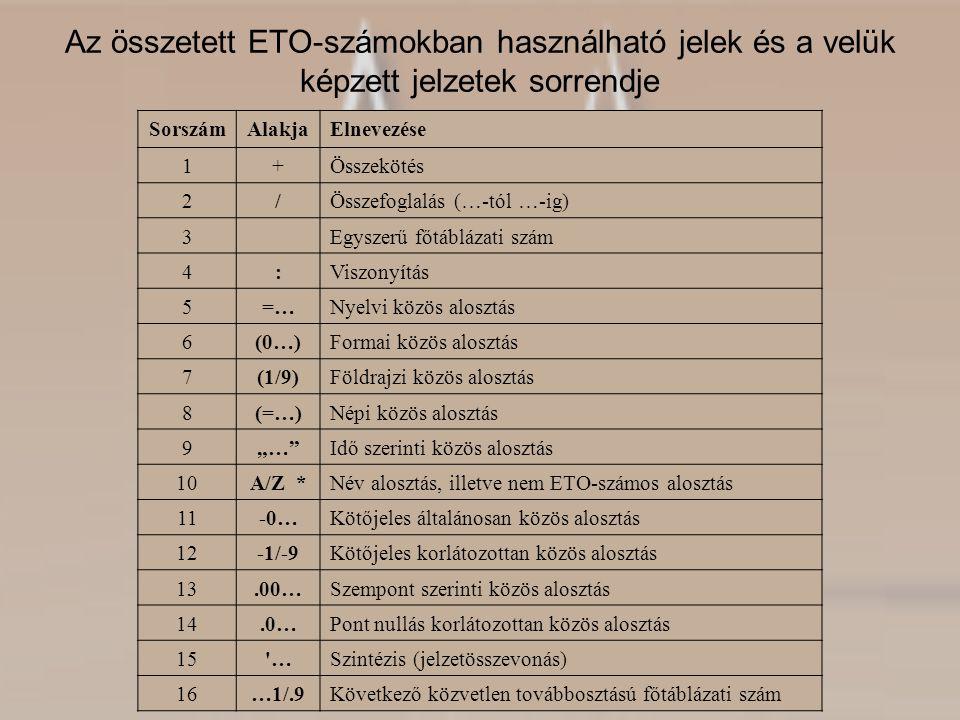 Az összetett ETO-számokban használható jelek és a velük képzett jelzetek sorrendje SorszámAlakjaElnevezése 1+Összekötés 2/Összefoglalás (…-tól …-ig) 3