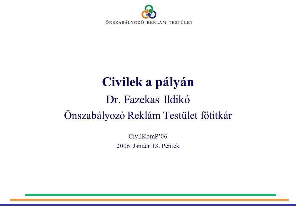 Civilek a pályán Dr. Fazekas Ildikó Önszabályozó Reklám Testület főtitkár CivilKomP'06 2006.