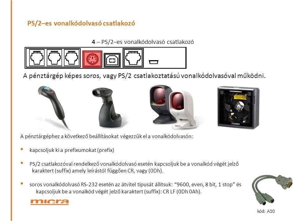 PS/2–es vonalkódolvasó csatlakozó A pénztárgép képes soros, vagy PS/2 csatlakoztatású vonalkódolvasóval működni. A pénztárgéphez a következő beállítás