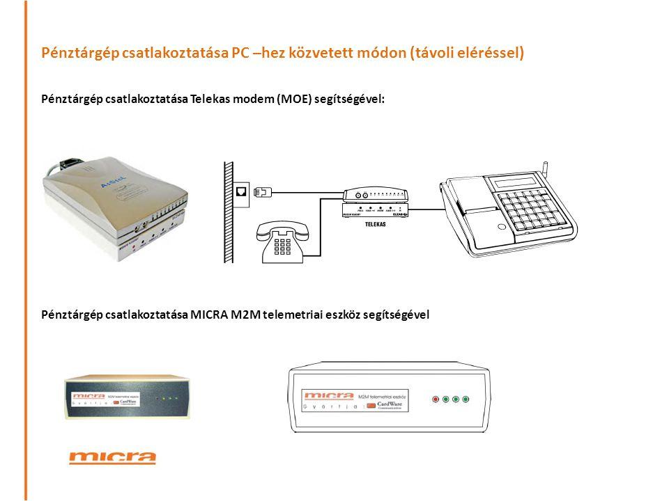 Pénztárgép csatlakoztatása PC –hez közvetett módon (távoli eléréssel) Pénztárgép csatlakoztatása Telekas modem (MOE) segítségével: Pénztárgép csatlako