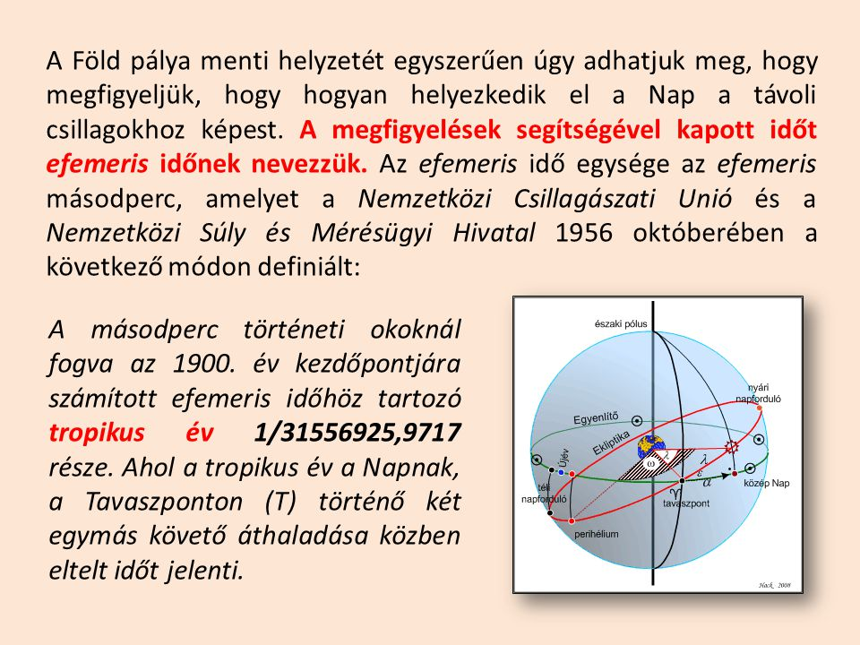 A Föld pálya menti helyzetét egyszerűen úgy adhatjuk meg, hogy megfigyeljük, hogy hogyan helyezkedik el a Nap a távoli csillagokhoz képest.