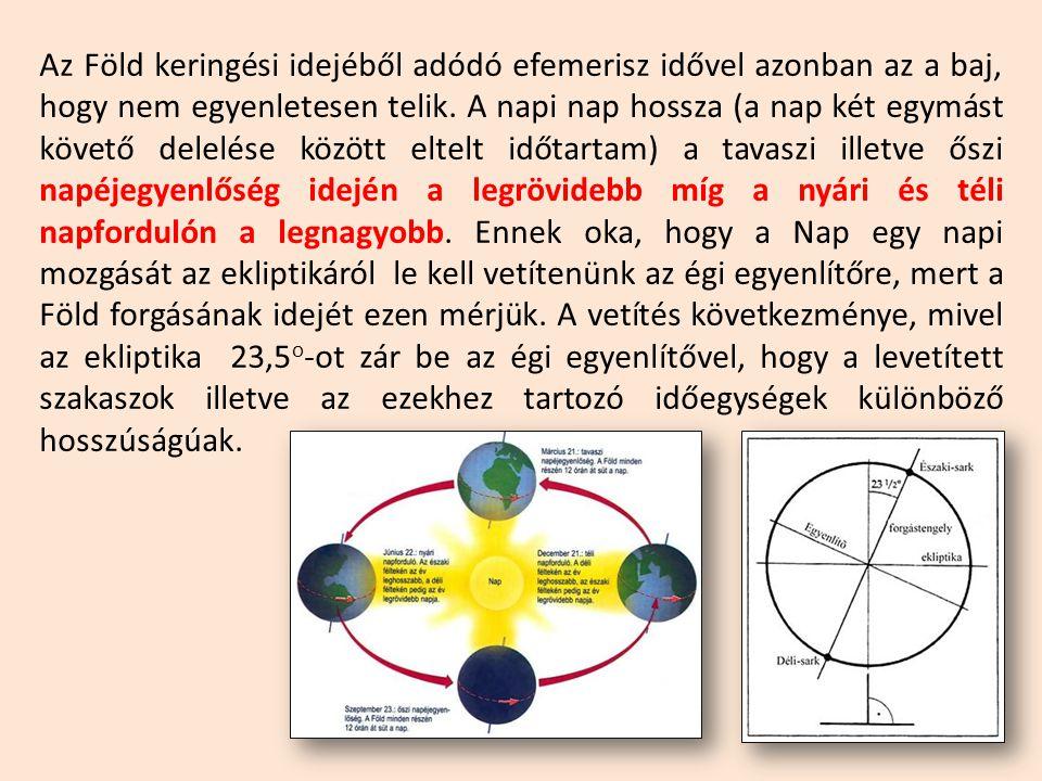 Az Föld keringési idejéből adódó efemerisz idővel azonban az a baj, hogy nem egyenletesen telik.