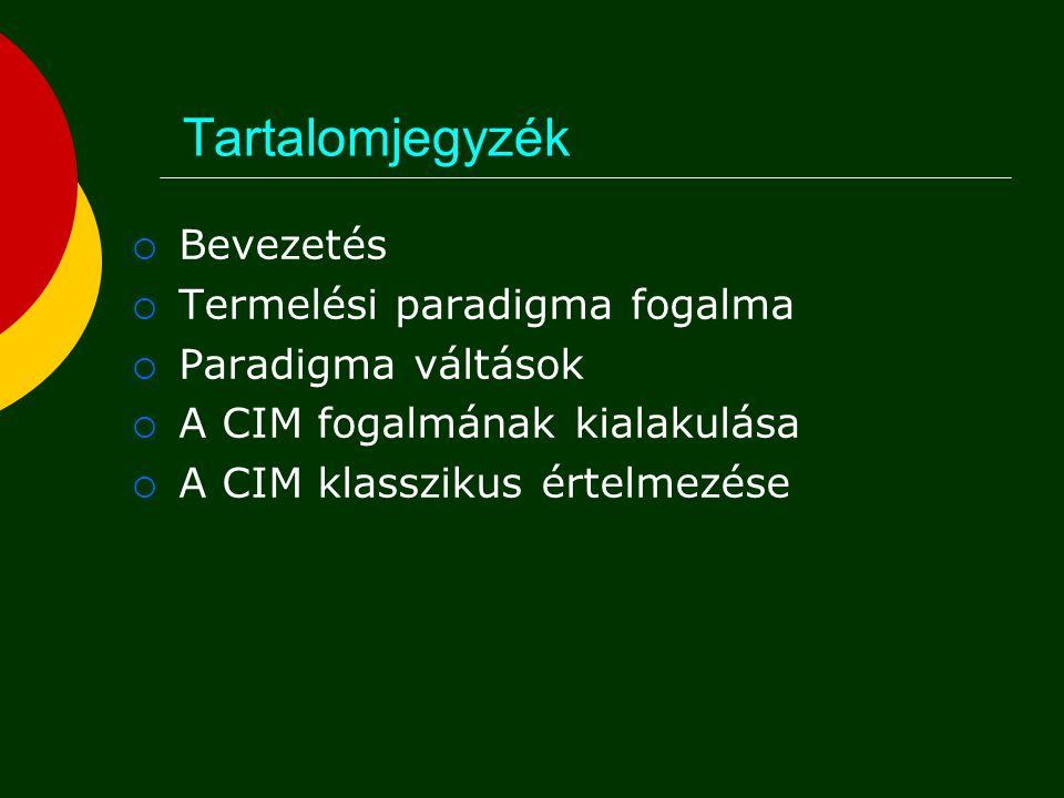 Tartalomjegyzék  Bevezetés  Termelési paradigma fogalma  Paradigma váltások  A CIM fogalmának kialakulása  A CIM klasszikus értelmezése