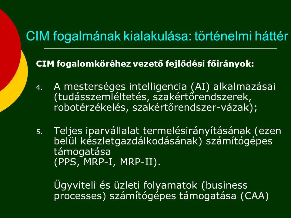 CIM fogalmának kialakulása: történelmi háttér CIM fogalomköréhez vezető fejlődési főirányok: 1. A mérnöki tervezőmunka numerikus és grafikus támogatás