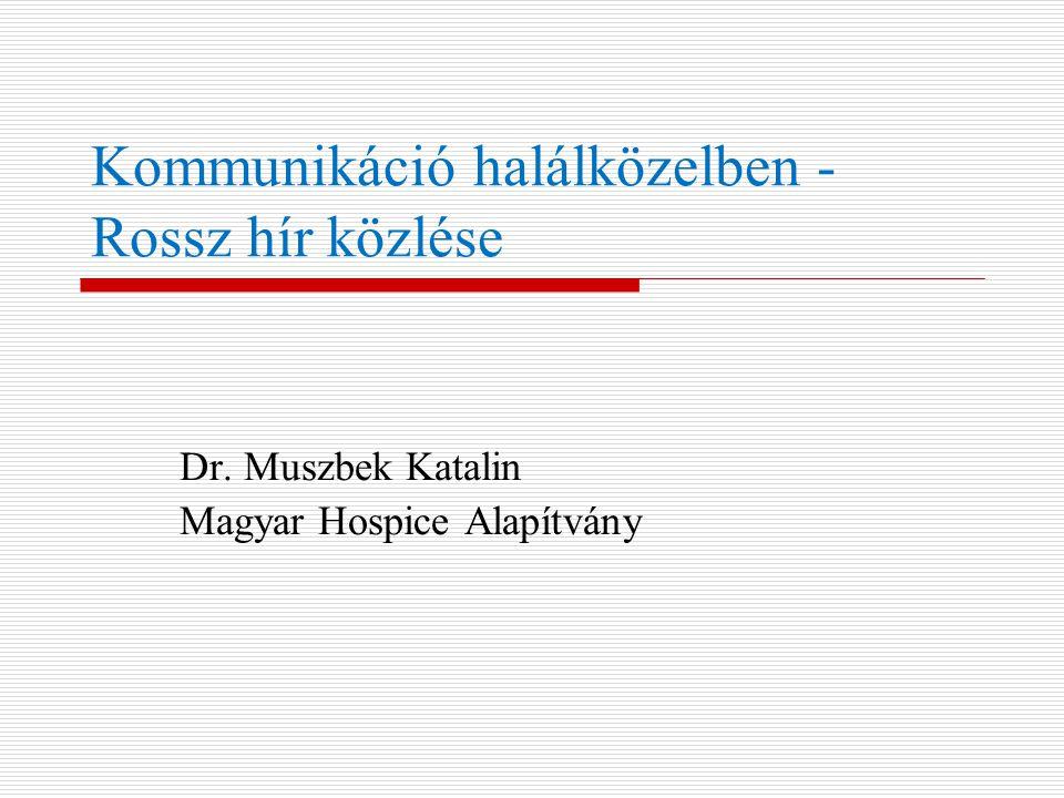 Kommunikáció halálközelben - Rossz hír közlése Dr. Muszbek Katalin Magyar Hospice Alapítvány
