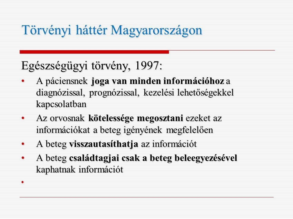 Törvényi háttér Magyarországon Egészségügyi törvény, 1997: •A páciensnek joga van minden információhoz a diagnózissal, prognózissal, kezelési lehetősé