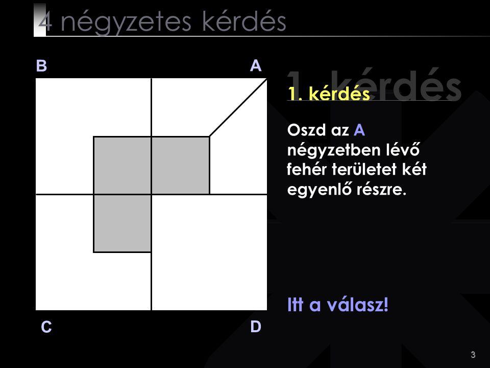 3 1. kérdés B A D C Itt a válasz! 4 négyzetes kérdés Oszd az A négyzetben lévő fehér területet két egyenlő részre.