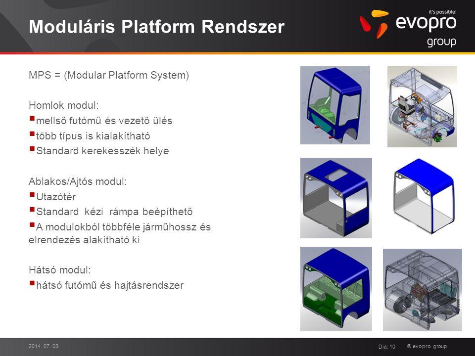 © evopro group Moduláris Platform Rendszer MPS = (Modular Platform System) Homlok modul:  mellső futómű és vezető ülés  több típus is kialakítható 