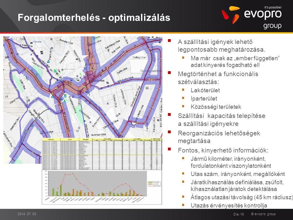 """© evopro group Forgalomterhelés - optimalizálás  A szállítási igények lehető legpontosabb meghatározása.  Ma már csak az """"ember független"""" adat kiny"""