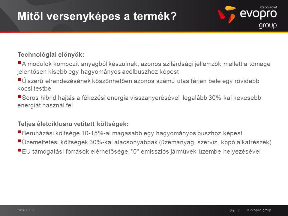 © evopro group Mitől versenyképes a termék? Technológiai előnyök:  A modulok kompozit anyagból készülnek, azonos szilárdsági jellemzők mellett a töme