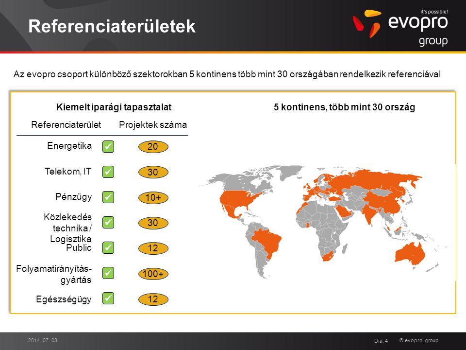© evopro group Referenciaterületek 2014. 07. 03. Dia: 4 Public Energetika Folyamatirányítás- gyártás Telekom, IT Közlekedés technika / Logisztika Pénz