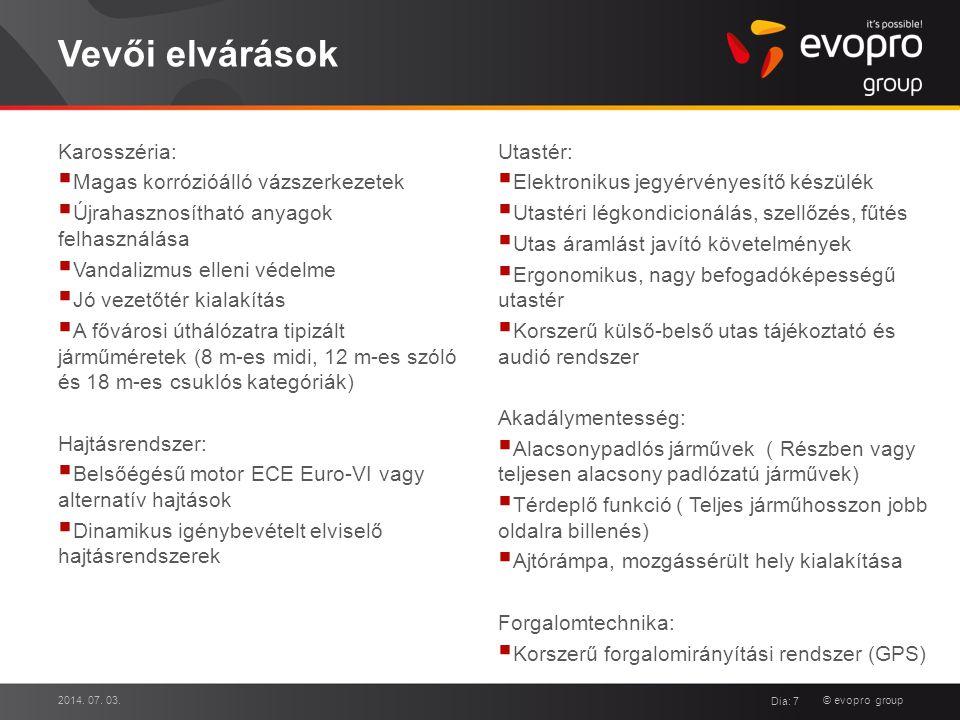© evopro group Vevői elvárások Karosszéria:  Magas korrózióálló vázszerkezetek  Újrahasznosítható anyagok felhasználása  Vandalizmus elleni védelme