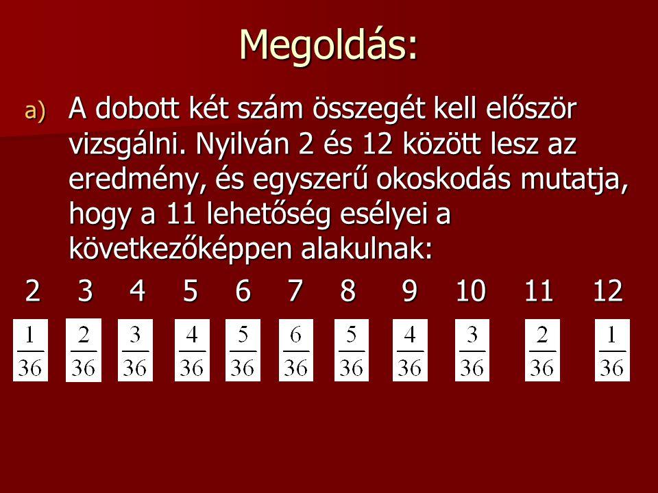 4. Feladat Két kockával dobunk, és a kapott két szám összege (levonva belőle a beszálló összeget) lesz a nyereményünk. a) Hány forintot kell fizetni p