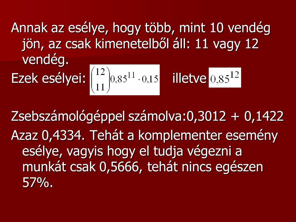Megoldás: A szituációt úgy modellezzük, hogy azt feltételezzük minden előjegyzett egymástól függetlenül 0,85 eséllyel jön el.