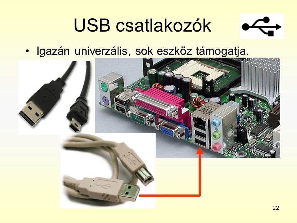 22 USB csatlakozók •Igazán univerzális, sok eszköz támogatja.
