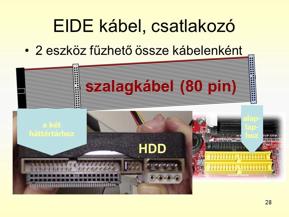 28 EIDE kábel, csatlakozó •2 eszköz fűzhető össze kábelenként szalagkábel (80 pin) alap- lap- hoz a két háttértárhoz HDD