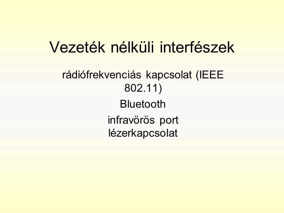 Vezeték nélküli interfészek rádiófrekvenciás kapcsolat (IEEE 802.11) Bluetooth infravörös port lézerkapcsolat