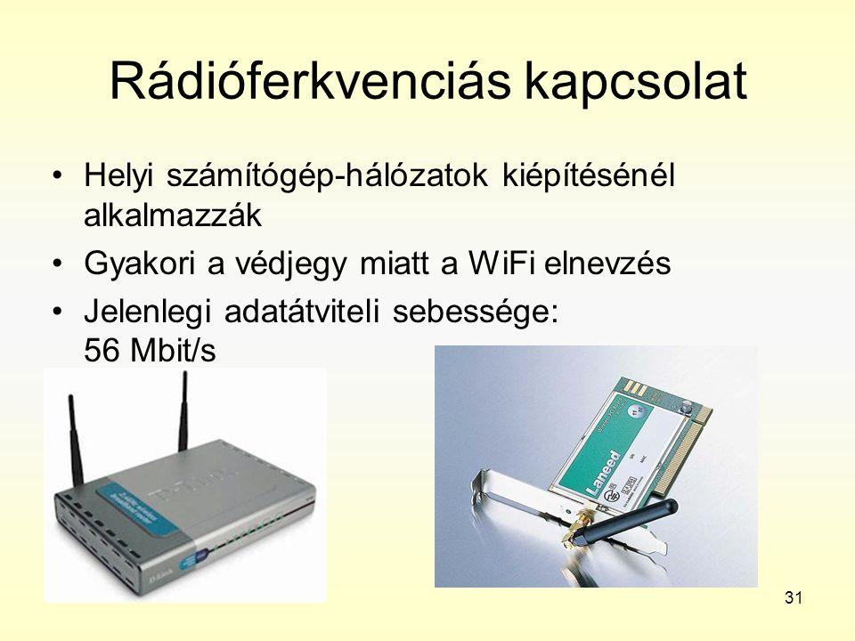 31 Rádióferkvenciás kapcsolat •Helyi számítógép-hálózatok kiépítésénél alkalmazzák •Gyakori a védjegy miatt a WiFi elnevzés •Jelenlegi adatátviteli se