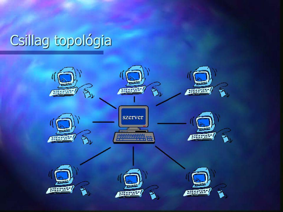 A csillag topológia alkalmazása során a központi gépet minden munkaállomással külön kábel köti össze. Ez a topológia nyilvánvalóan minimalizálja a sín