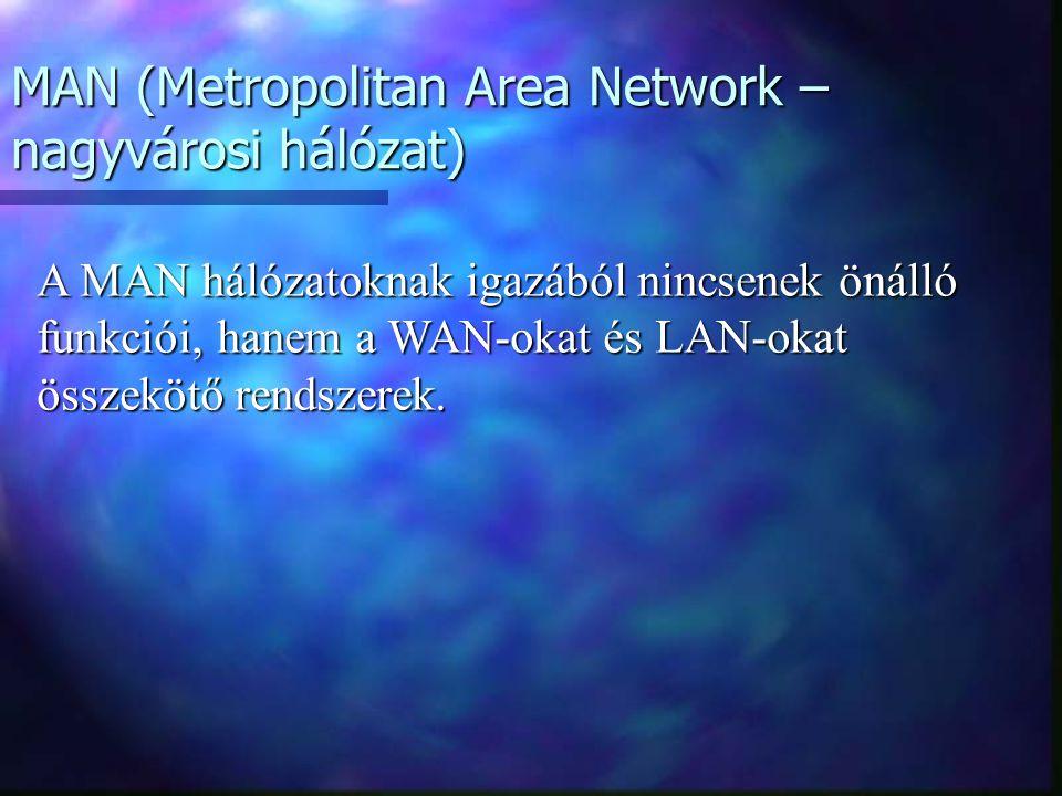 MAN (Metropolitan Area Network – nagyvárosi hálózat) A MAN hálózatoknak igazából nincsenek önálló funkciói, hanem a WAN-okat és LAN-okat összekötő rendszerek.