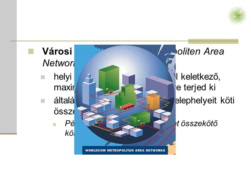  Városi hálózat (MAN – Metropoliten Area Network)  helyi hálózatok összekötésével keletkező, maximum 25-30 km-es körzetre terjed ki  általában egy-egy intézmény telephelyeit köti össze  Például: budapesti egyetemeket összekötő körgyűrű.