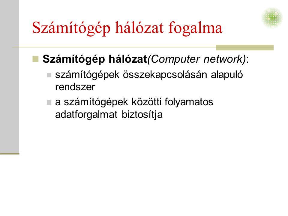 Számítógép hálózat fogalma  Számítógép hálózat(Computer network):  számítógépek összekapcsolásán alapuló rendszer  a számítógépek közötti folyamatos adatforgalmat biztosítja
