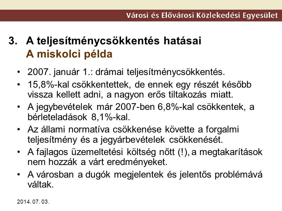 2014. 07. 03. 3.A teljesítménycsökkentés hatásai A miskolci példa •2007. január 1.: drámai teljesítménycsökkentés. •15,8%-kal csökkentettek, de ennek