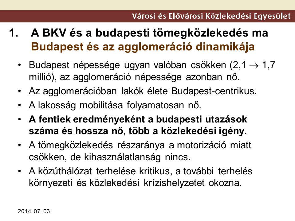 2014. 07. 03. 1.A BKV és a budapesti tömegközlekedés ma Budapest és az agglomeráció dinamikája •Budapest népessége ugyan valóban csökken (2,1  1,7 mi