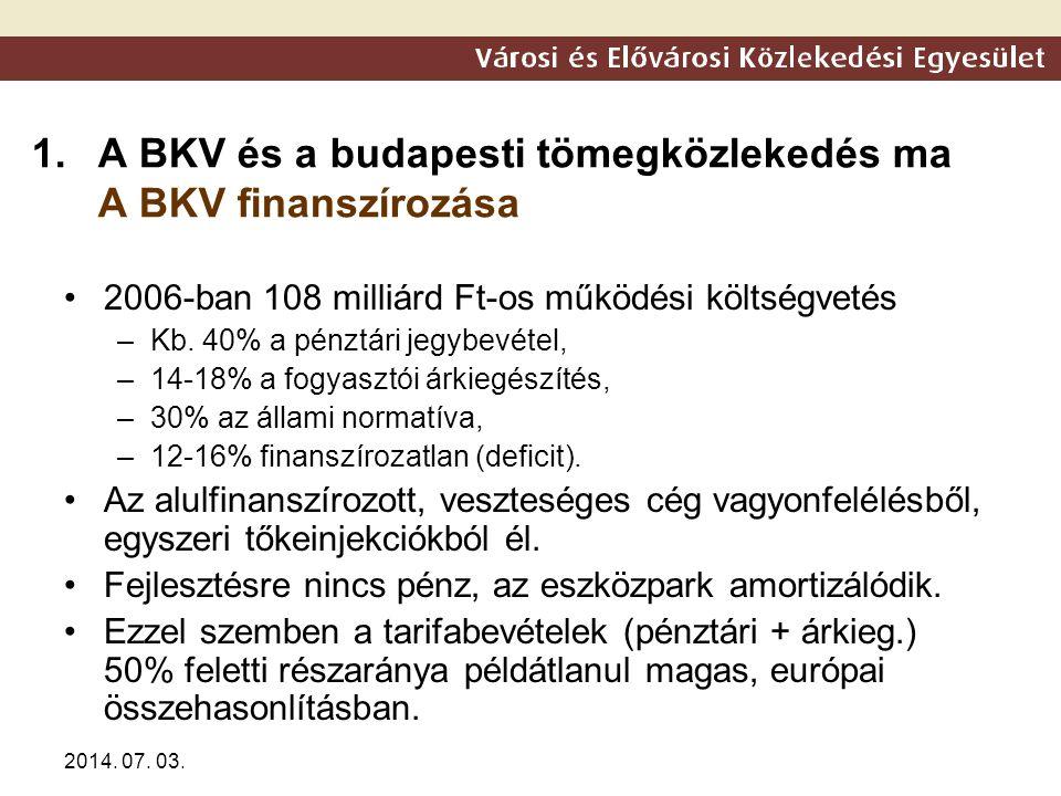 2014. 07. 03. 1.A BKV és a budapesti tömegközlekedés ma A BKV finanszírozása •2006-ban 108 milliárd Ft-os működési költségvetés –Kb. 40% a pénztári je