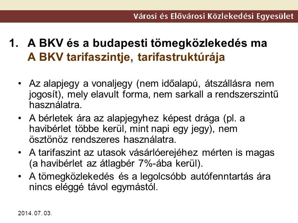 2014. 07. 03. 1.A BKV és a budapesti tömegközlekedés ma A BKV tarifaszintje, tarifastruktúrája •Az alapjegy a vonaljegy (nem időalapú, átszállásra nem