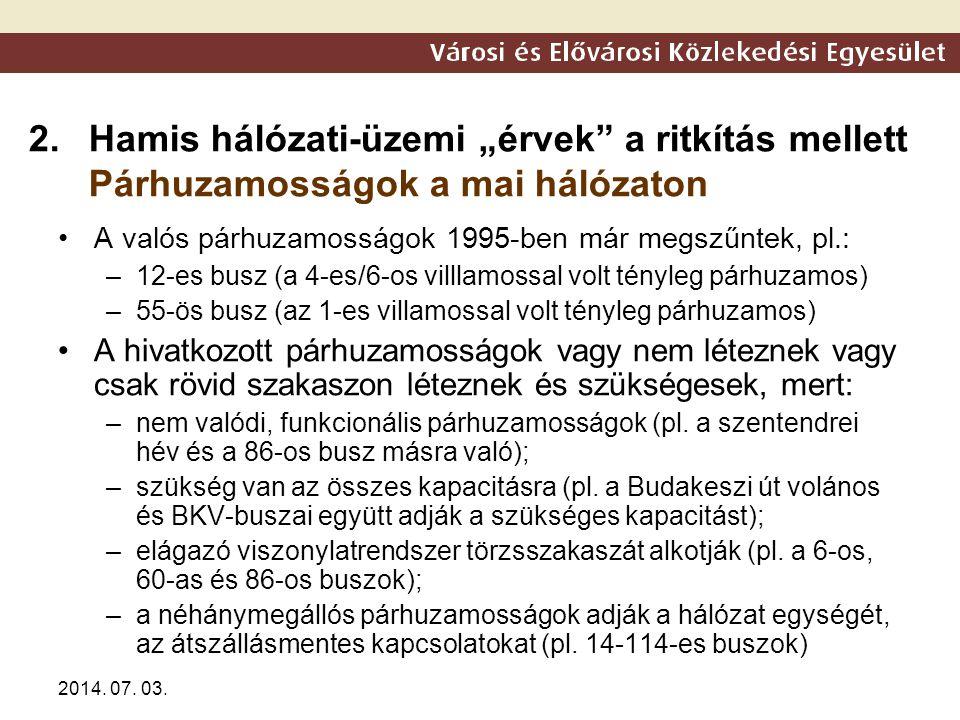 """2014. 07. 03. 2.Hamis hálózati-üzemi """"érvek"""" a ritkítás mellett Párhuzamosságok a mai hálózaton •A valós párhuzamosságok 1995-ben már megszűntek, pl.:"""