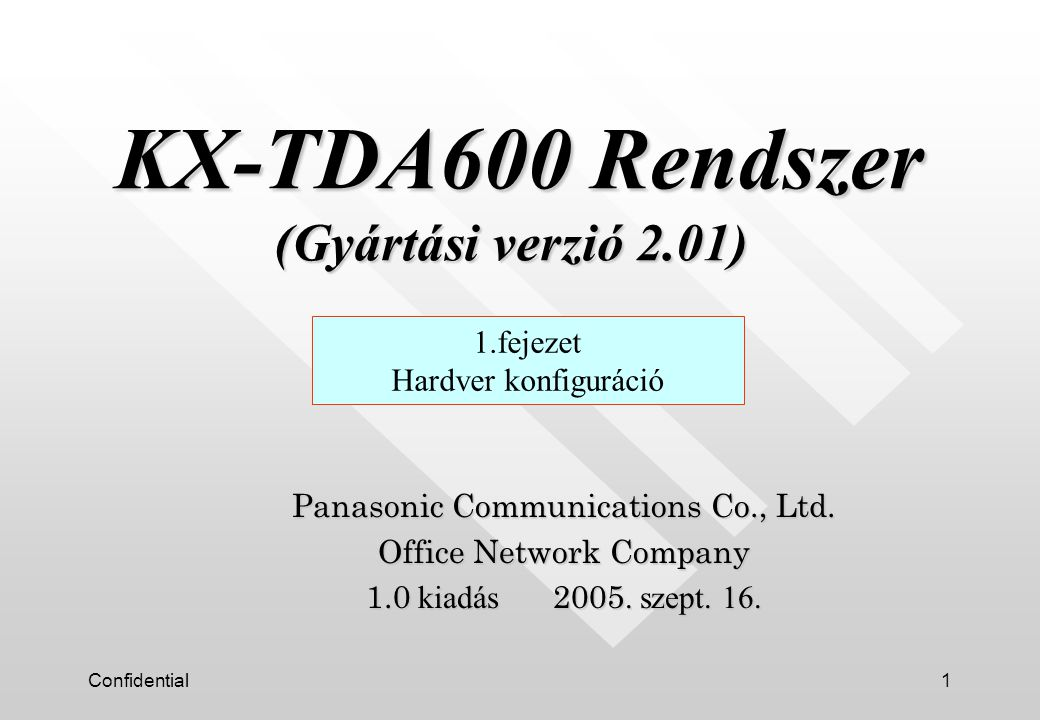 Confidential1 Panasonic Communications Co., Ltd. Office Network Company 1.0 kiadás 2005.