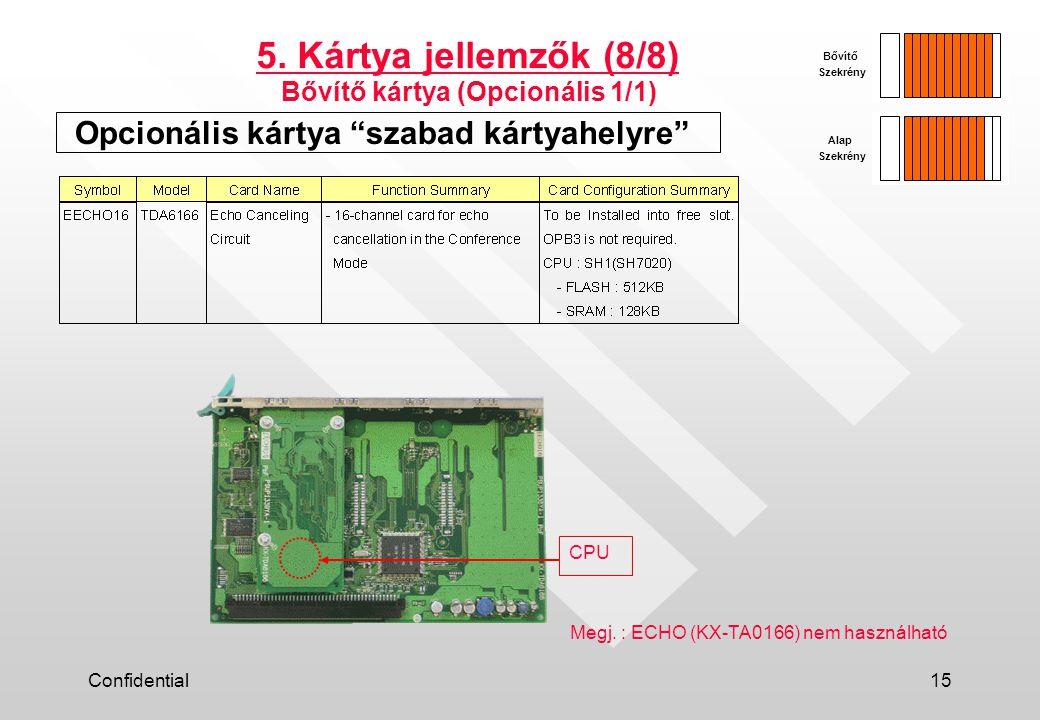 """Confidential15 Opcionális kártya """"szabad kártyahelyre"""" 5. Kártya jellemzők (8/8) Bővítő kártya (Opcionális 1/1) Alap Szekrény Bővítő Szekrény Megj. :"""