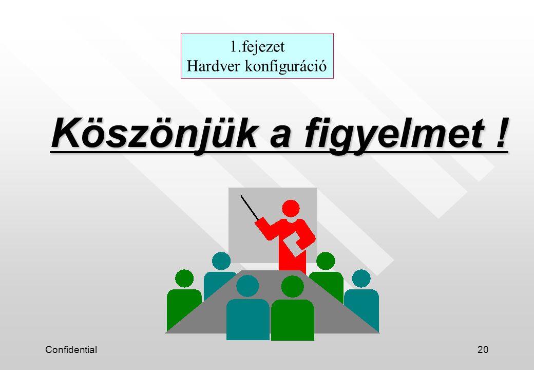 Confidential20 Köszönjük a figyelmet ! 1.fejezet Hardver konfiguráció