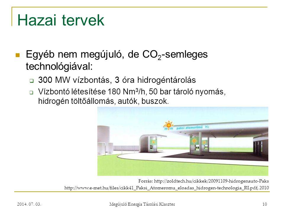 2014. 07. 03. Megújuló Energia Tárolási Klaszter 10 Hazai tervek Forrás: http://zoldtech.hu/cikkek/20091109-hidrogenauto-Paks http://www.e-met.hu/file
