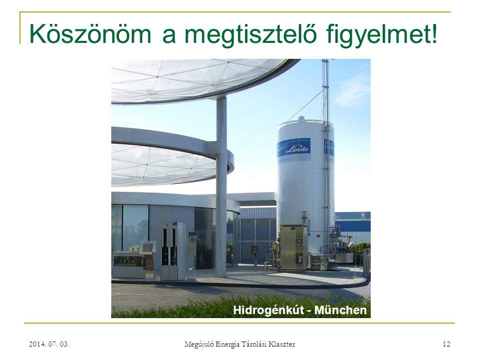 2014. 07. 03. Megújuló Energia Tárolási Klaszter 12 Köszönöm a megtisztelő figyelmet! Hidrogénkút - München