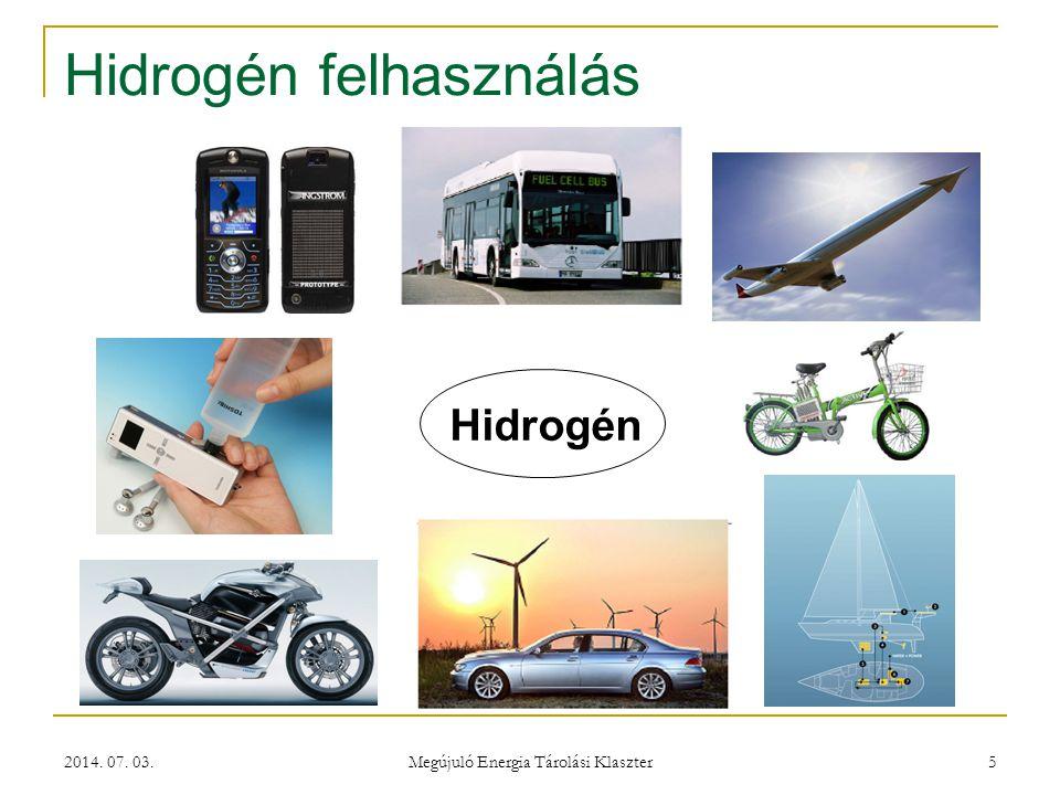 2014. 07. 03. Megújuló Energia Tárolási Klaszter 5 Hidrogén felhasználás Hidrogén