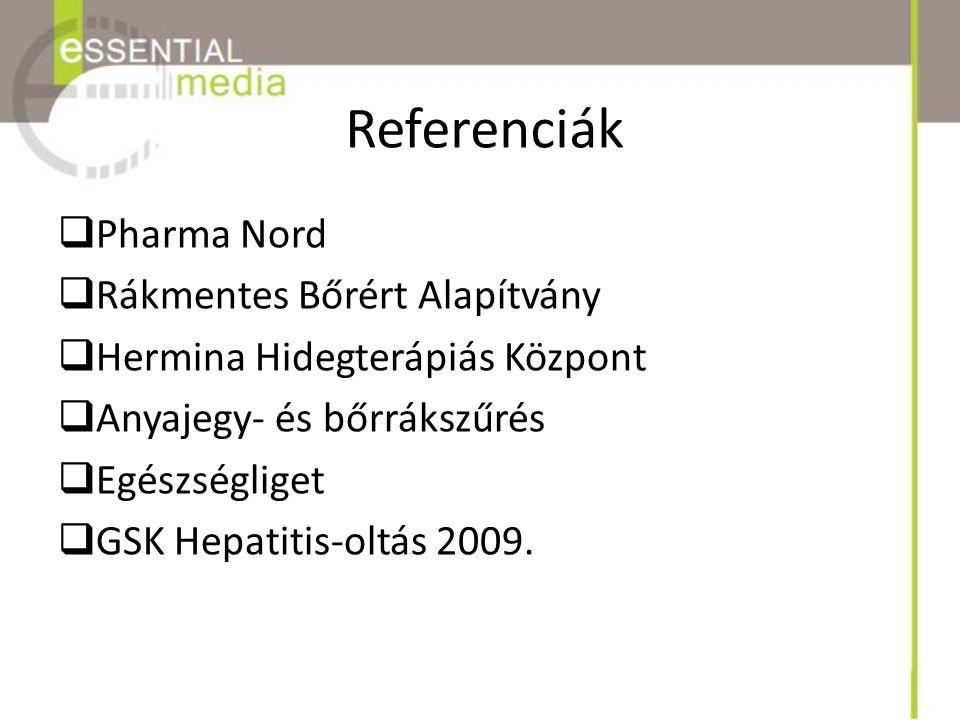 Referenciák  Pharma Nord  Rákmentes Bőrért Alapítvány  Hermina Hidegterápiás Központ  Anyajegy- és bőrrákszűrés  Egészségliget  GSK Hepatitis-ol