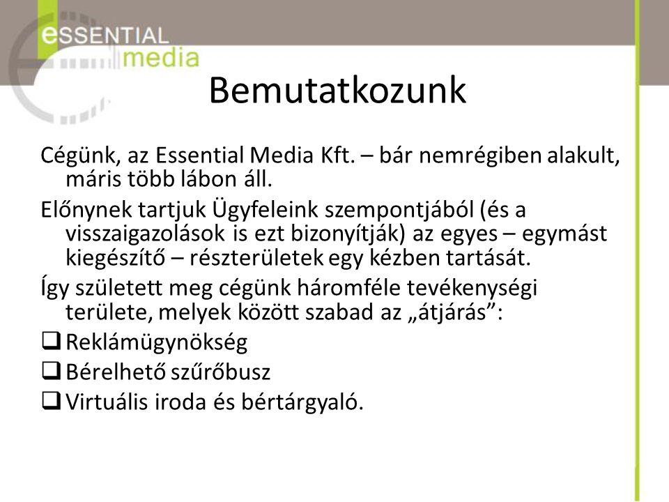 Bemutatkozunk Cégünk, az Essential Media Kft. – bár nemrégiben alakult, máris több lábon áll. Előnynek tartjuk Ügyfeleink szempontjából (és a visszaig