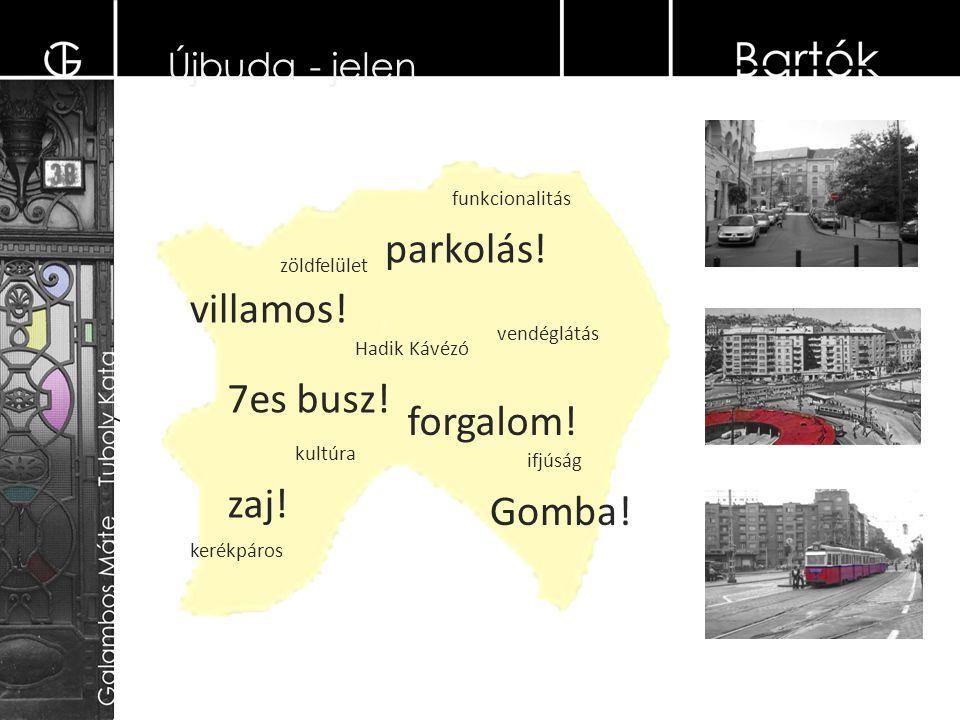 Újbuda - jelen villamos. 7es busz. kerékpáros zöldfelület kultúra ifjúság zaj.