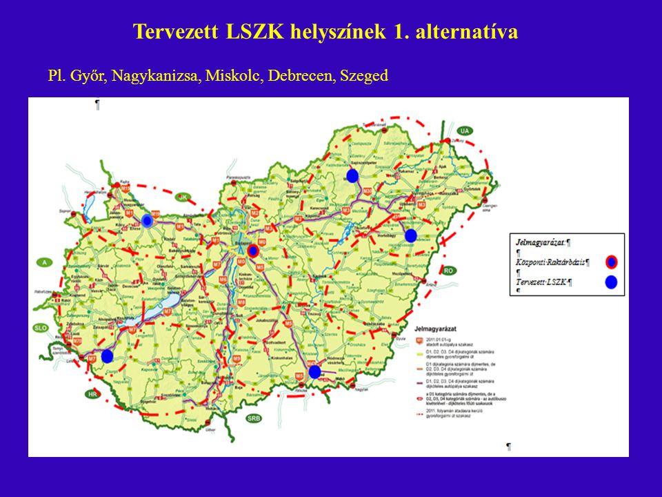 Tervezett LSZK helyszínek 1. alternatíva Pl. Győr, Nagykanizsa, Miskolc, Debrecen, Szeged